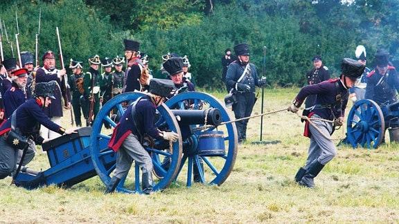 Nachstellung der Schlacht von Wartenburg 1813.