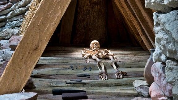 Ein Skelett liegt in einer Holzhütte