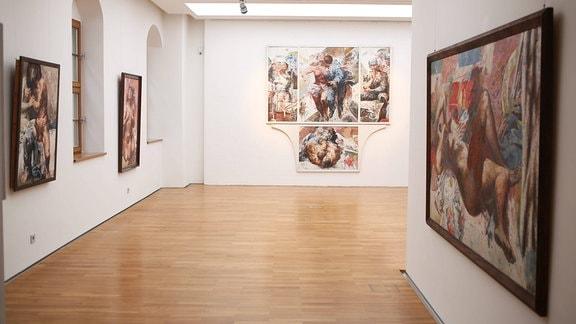 Blick in die Willi-Sitte-Ausstellung 'Leben mit Lust und Liebe', 2013