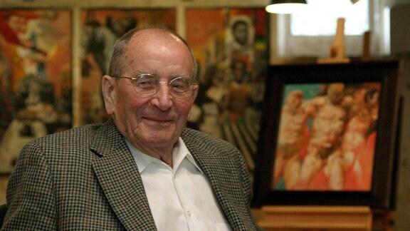Maler Willi Sitte (GER) anlässlich seiner Ausstellung - Euros und Vision - in Erfurt,