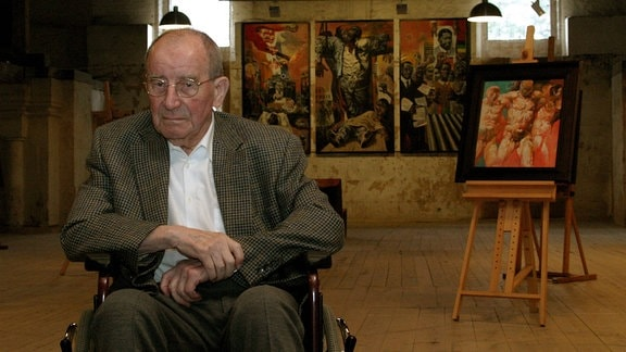 Maler Willi Sitte (GER) anlässlich seiner Ausstellung - Euros und Vision - in Erfurt