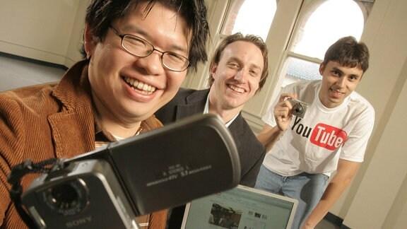 Die drei Youtube-Gründer (von links) Steve Chen, Chad Hurley und Jawed Karim.