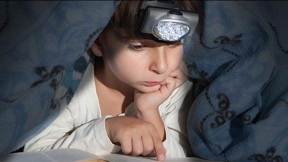 Ein Junge liest unter seiner Bettdecke mit einer Taschenlampe ein Buch.