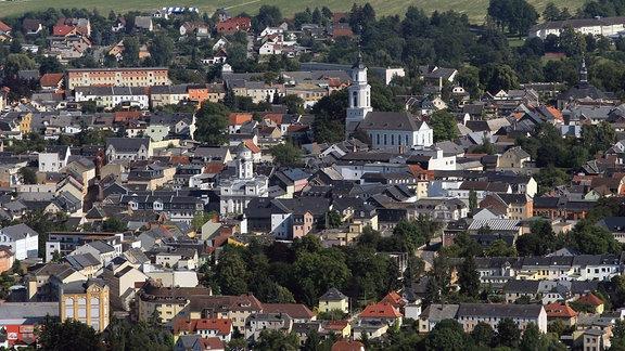 Blick auf Zeulenroda - Innenstadt mit Dreieinigkeitskirche