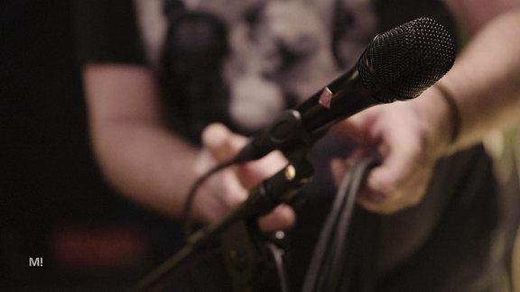 Nahaufnahme eines Mikrofons.