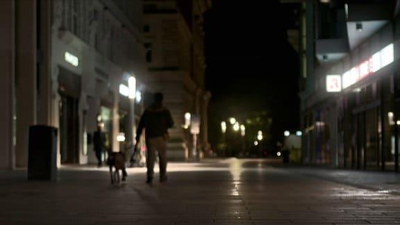 Ein Obdachloser mit seinem Hund nachts auf einer Einkaufsstraße in Leipzig.