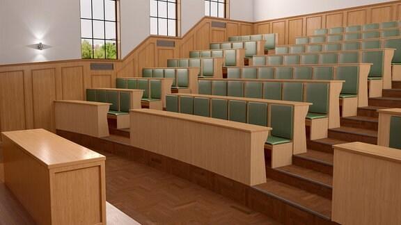 Leere Sitzreihen in einem Hörsaal