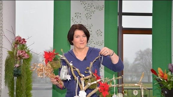 Gartenredakteurin Heike Mohr dekoriert einen Ast mit Weihnachtssternen