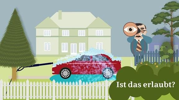 Eine Illustration zeigt ein Auto bei der Wäsche