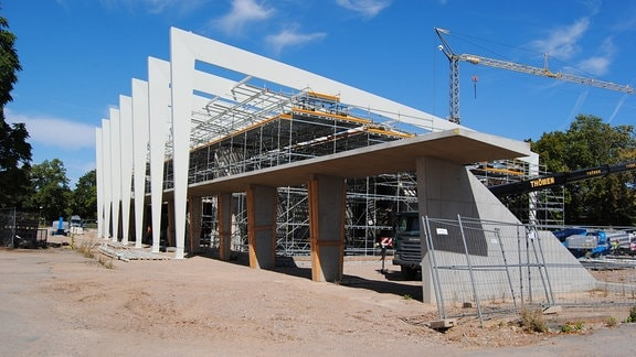 Baustelle des Wüsten- und Tropenhauses Danakil