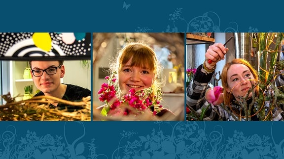 Die Kandidaten des MDR Garten-Florist 2019: Quentin Oberstedt, Stefanie Kösling und Anne-Kathrin Fritzsche.