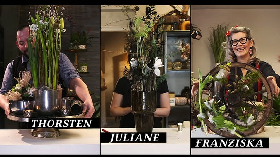 Bildkombo mit zwei Floristinnen und einem Floristen mit floristischen Arbeiten