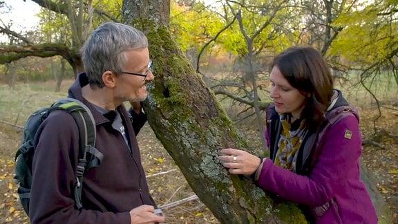 Anke Deleiter und Dr. Christian Printzen an einem voll mit Flechten bewachsenen Baum