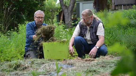 Jörg Heiß und Martin Krumbein sammeln getrocknetes Gras und tun es in einen großen Plastikkorb.