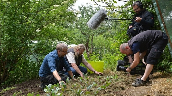 Jörg Heiß und Martin Krumbein werden dabei gefilmt wie sie ein Beet mit Gras mulchen. Auch ein Tontechniker steht im Hintergrund.