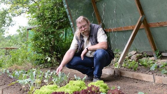 Auf einem Beet wachsen Salate, dahinter hockt Gemüseexperte Martin Krumbein.