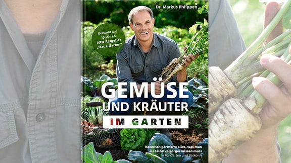 Buchcover: ein Mann hockt auf einem Beet und erntet Gemüse.