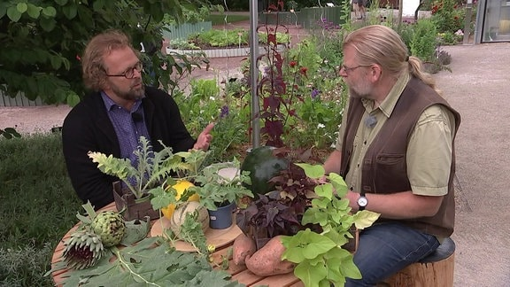 Moderator mit Gartenmeister im Gespräch