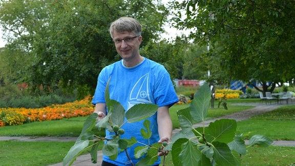 Der Experte Dirk Henke steht lächelnd hinter einem kleinen Feigenbaum und präsentiert diesen.