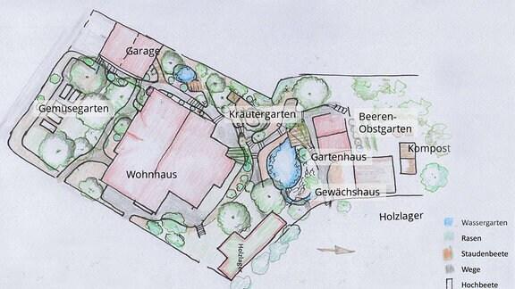 gezeichneter Plan des Gartens von Gärtnerin Brigitte Goss