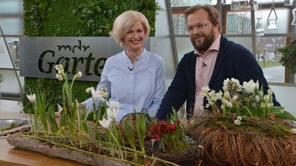 Moderator Jens Haentzschel und Floristin Kathrin Katt