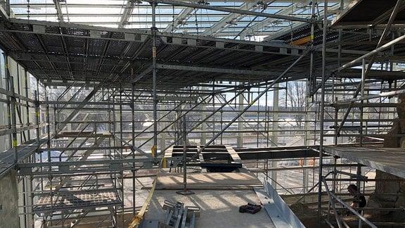 Baustelle im Danakil-Haus im egapark Erfurt.