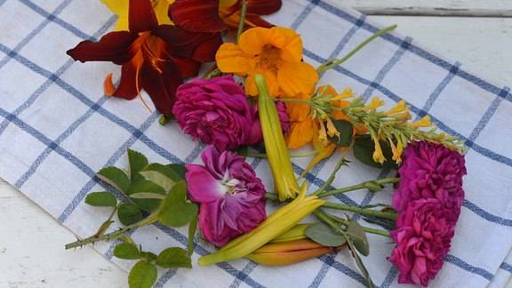 Verschiedene bunte Blüten liegen auf einem Geschirrtuch