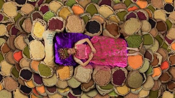 """Pressebild """"Unser Saatgut"""": Eine Frau liegt auf vielen verschiedenen Saatgut-Sorten."""