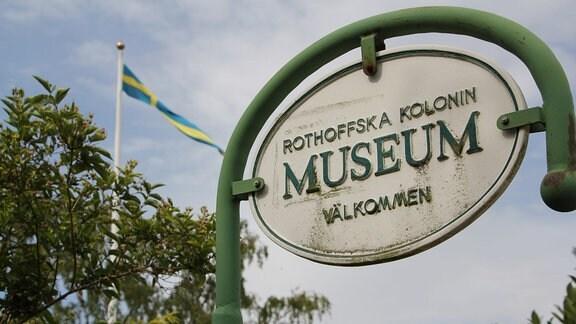 Das Schild des Kleingartenmuseum Landskrona in Schweden.