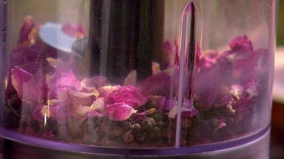 Pfeffer und Rosenblütenblätter in einem Mixer