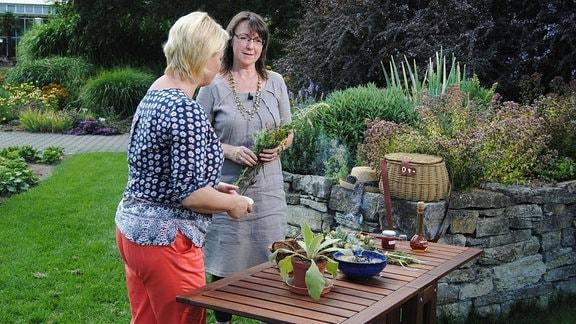 Die MDR Garten-Moderatorin Diana Fritzsche-Grimmig unterhält sich im egapark Erfurt mit der Kräuterfrau Ruth Bredenbeck