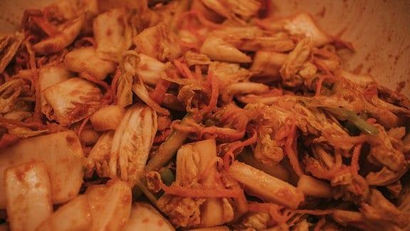 Verarbeitetes Gemüse vermengt.