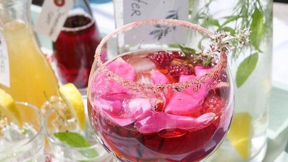 rotes Getränk mit schwimmenden Rosenblättern in einem Weinglas mit Zuckerrand