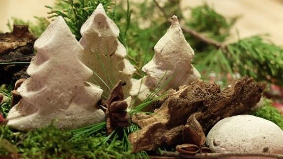 Zwischen Naturmaterialien wie Moos und Zweigen stehen Tannenbäume aus einem festen Material.