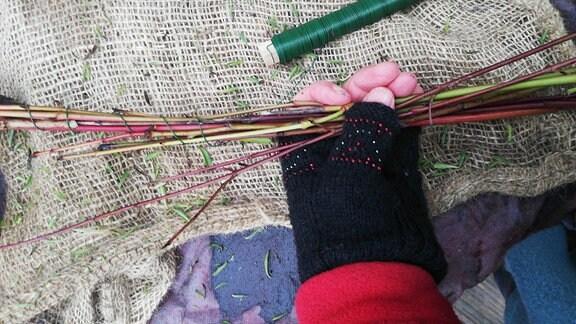Hartriegelzweige in einer Hand werden mit Draht umwickelt.