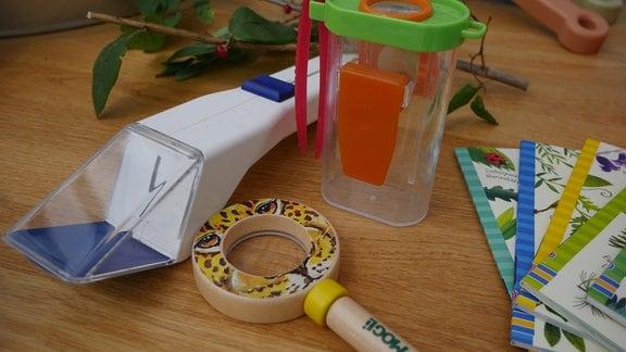 Verschiedene Beobachtungsinstrumente für Kinder, mit denen man zum Beispiel Insekten näher betrachten kann
