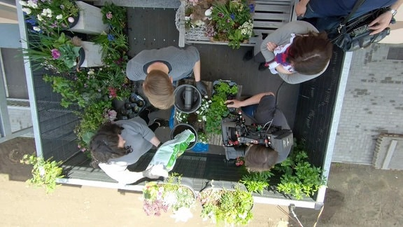 Balkon im Schatten wird für den Sommer bepflanzt