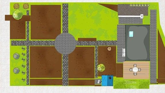 Plan eines bauerngarten am Computer erstellt. Typische Wegkreuzung in einem Bauerngarten mit angrenzenden Beeten und Rasenflächen.
