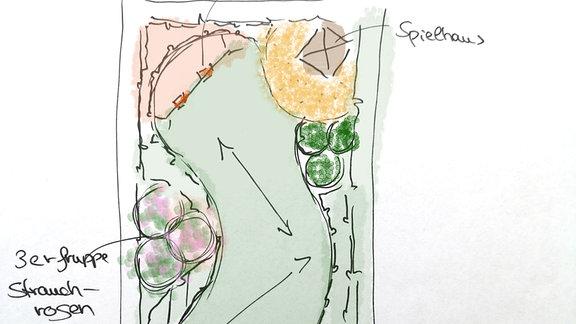 Skizze für die Gestaltung eines breiten, kurzen Gartens
