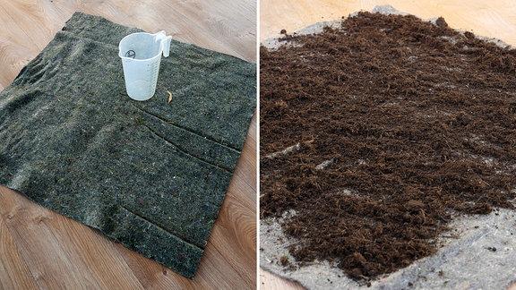 Ein Quadratmeter Vlies und ein Drei-Liter-Messbecher und Vlies mit Kompost