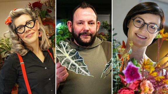 Die drei Kandidaten im Wettbewerb MDR Garten-Florist 2021