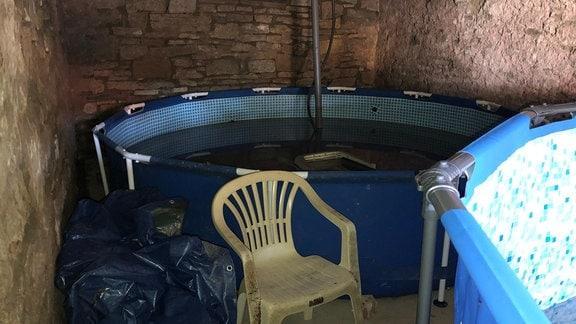 Swimmingpool in einer Scheune, in dem Regenwasser gesammelt wird.