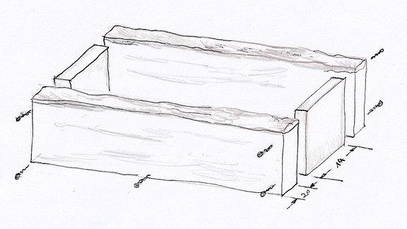 Ein Schema zeigt, wie ein Pflanzkasten zusammengebaut wird.