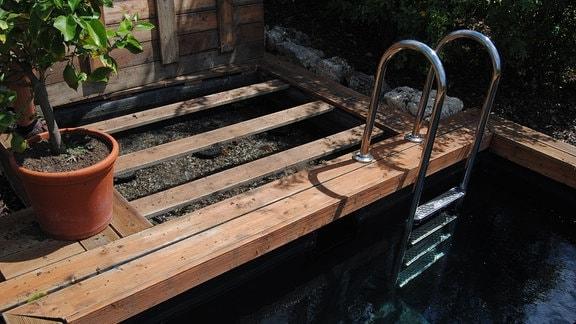 Ein als Natur-Pool betriebenes Schwimmbecken mit Stahlleiter und hölzerner Umrandung sowie Filterbereich mit Steinen