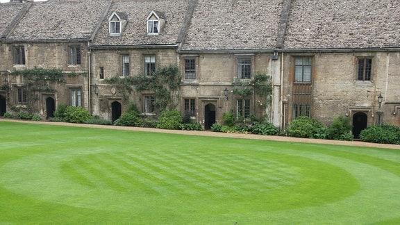 Ein vorbildlich gepflegter englischer Rasen im Worcester Collage Garden in Oxford.