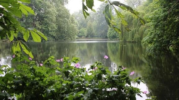 Blick auf den See im Worcester Collage Garden in Oxford.