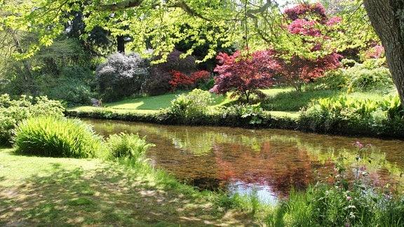 Durch einen Park mit vielen bunten Sträuchern und Bäumen fließt ein Fluss.