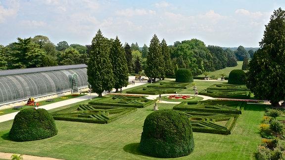 Parkanlage und Gewächshaus von Schloss Lednice