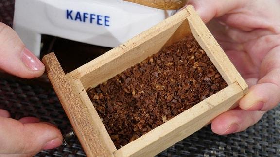 Schublade einer alten Kaffeemühle mit gemahlenem Kaffee.