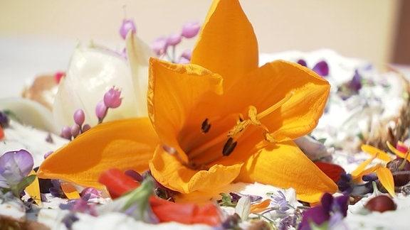 Lilienblüte auf einem Quarkbrot.